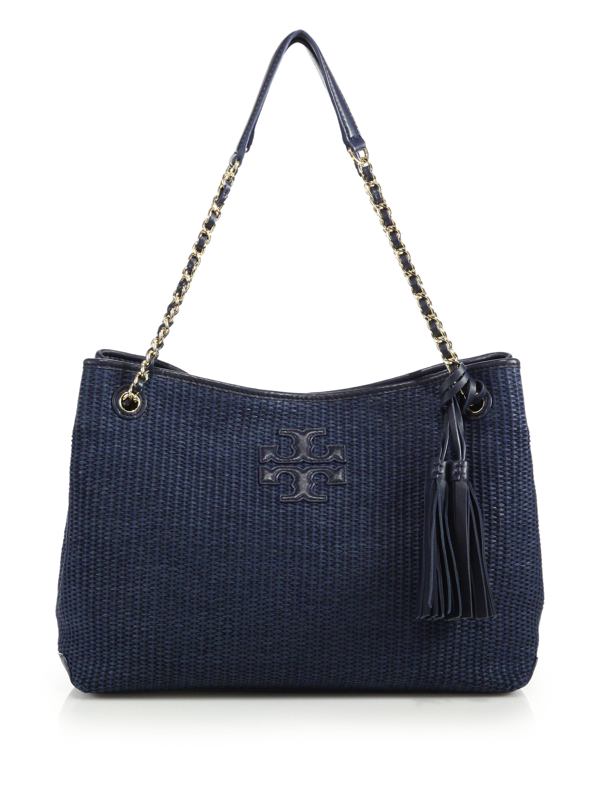 a192840595c Lyst - Tory Burch Thea Woven Straw   Metallic Leather Tote in Blue