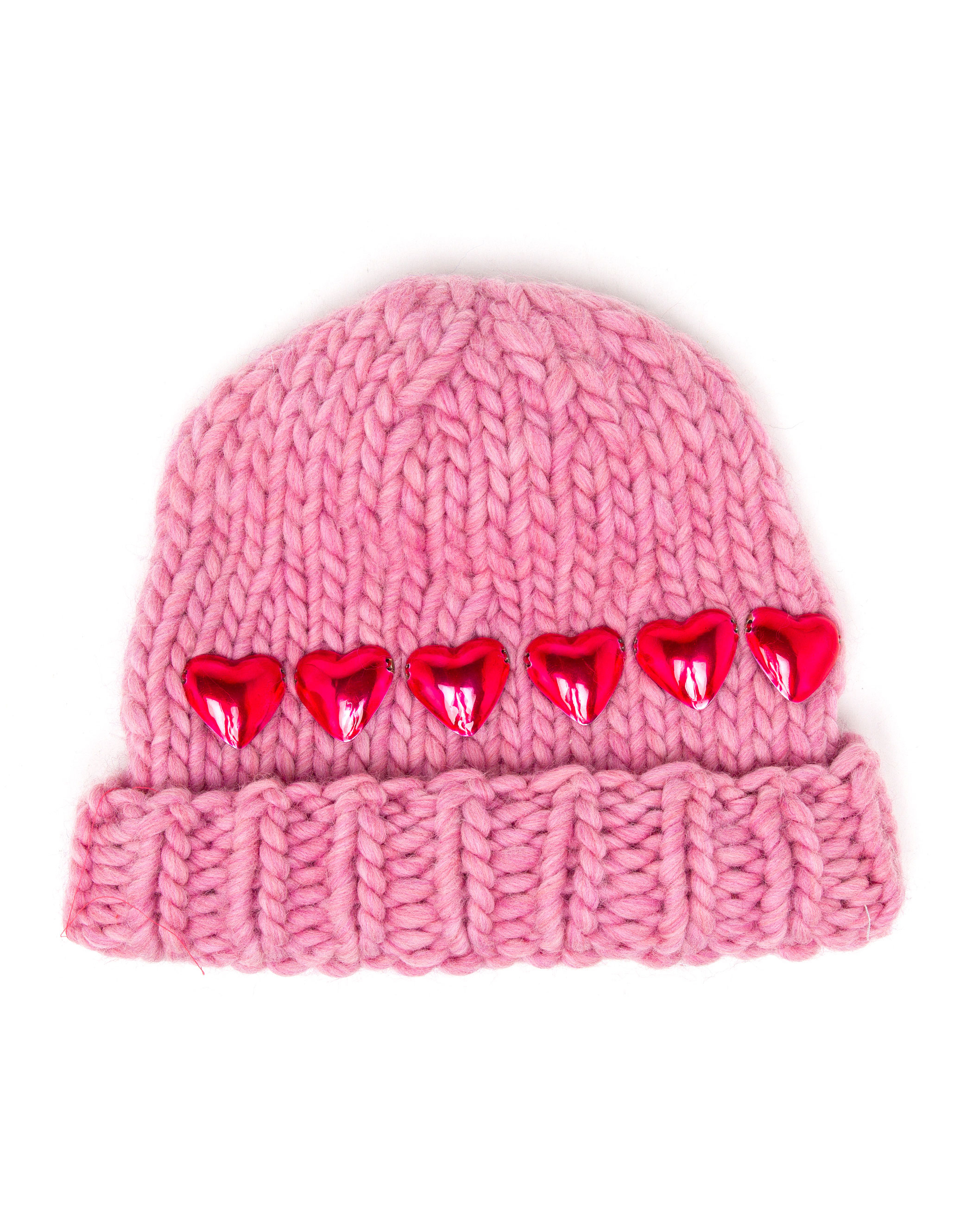 Wool and the gang knitted heart beanie hat in pink lyst - Gang and the wool ...