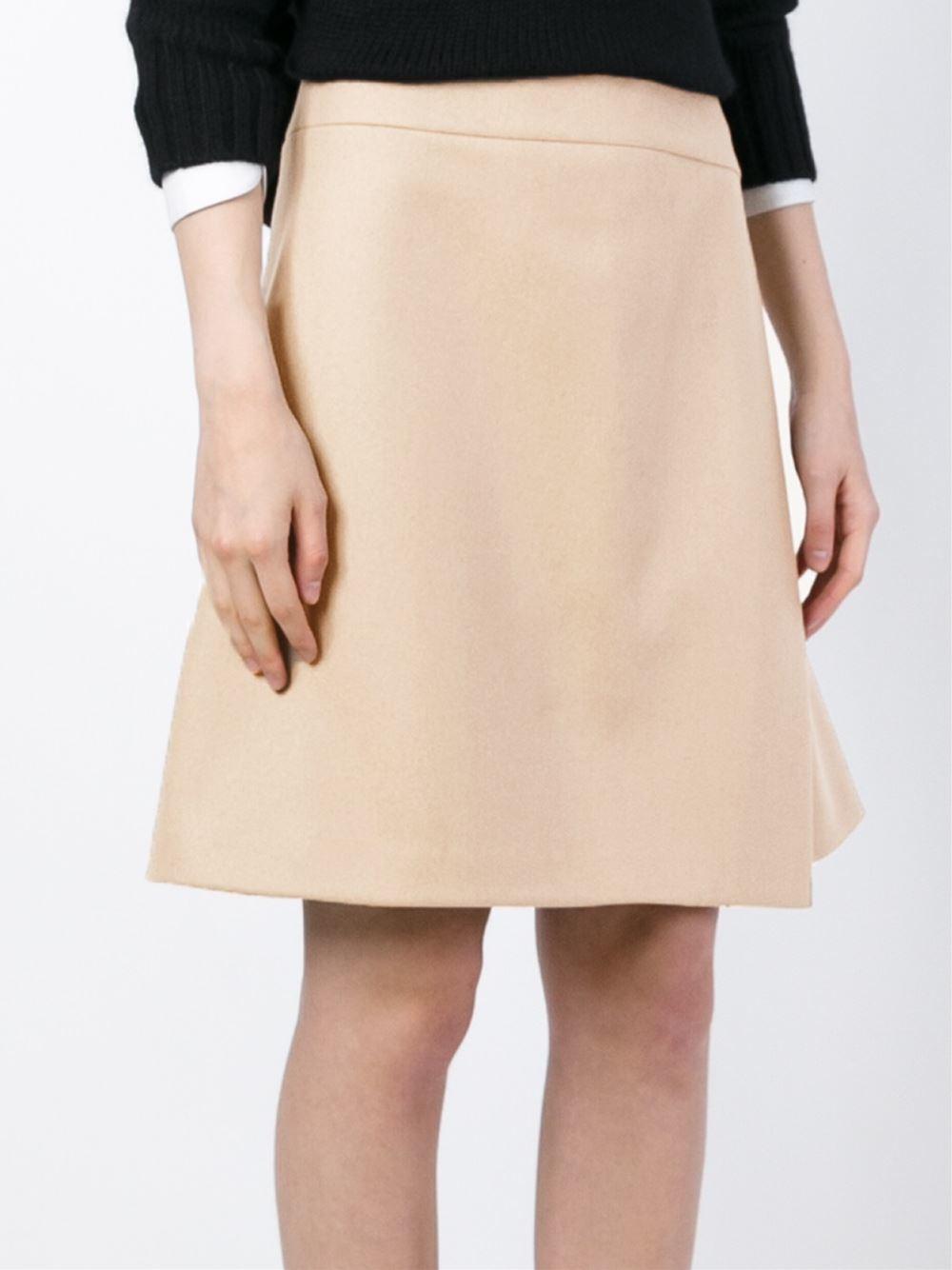 jil sander navy wrap a line skirt in beige