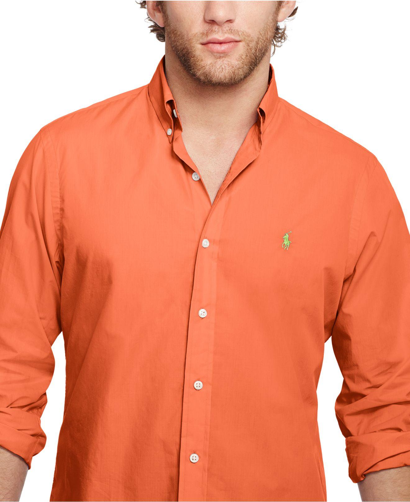 0e158935f Polo Ralph Lauren Solid Poplin Shirt in Orange for Men - Lyst