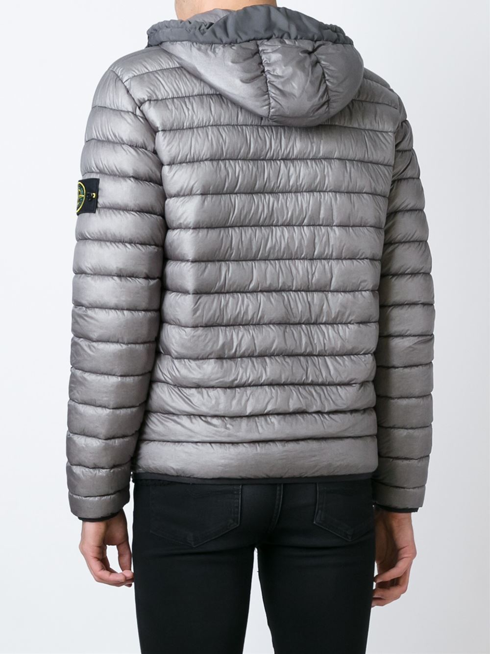 Lyst Stone Island Hooded Padded Jacket In Gray For Men
