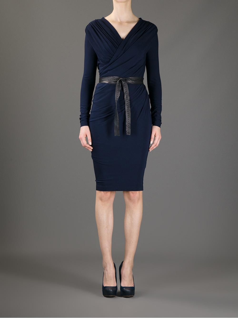 Lyst - Donna Karan Belted Wrap Dress in Blue