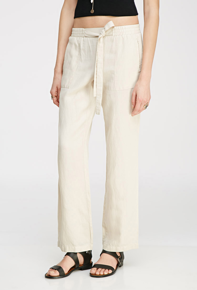 Forever 21 Linen-blend Drawstring Pants in Natural | Lyst