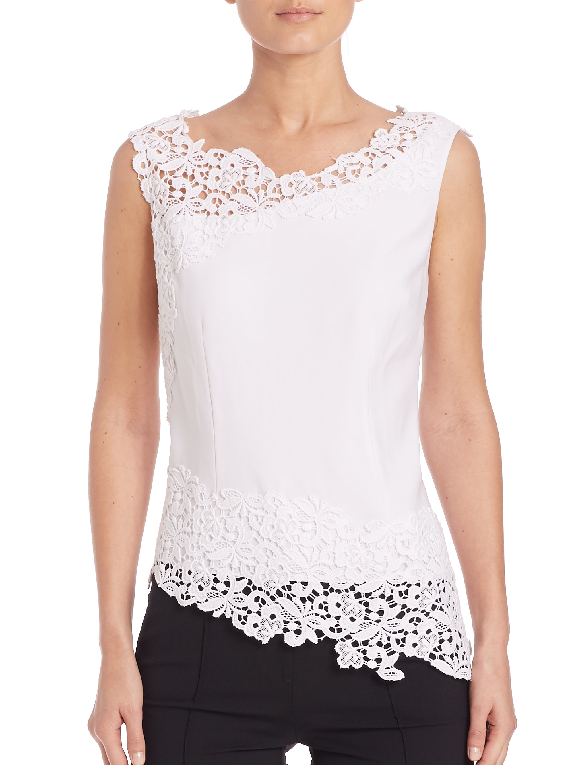 5849e9261be4aa Elie Tahari Soobin Blouse in White - Lyst