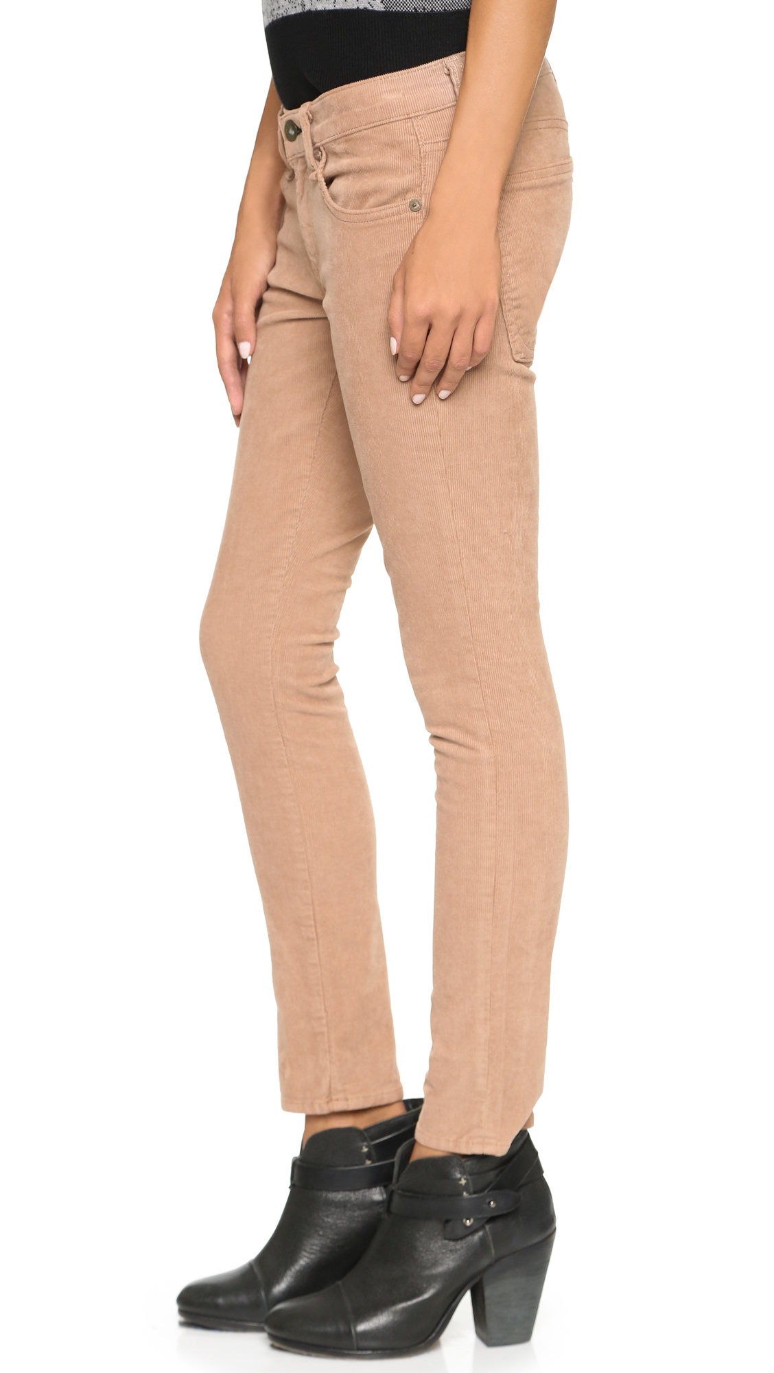 Amazing Tan Corduroy Fly Button Closure Pants Style Clothing Pants A7 3030tan