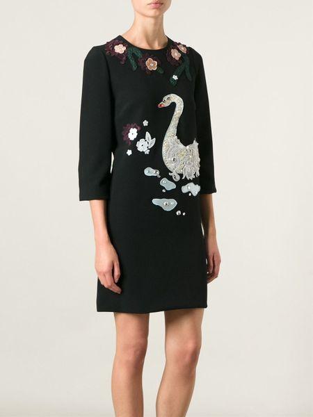 Dolce Amp Gabbana Lace Swan Appliqu 233 Dress In Black Lyst