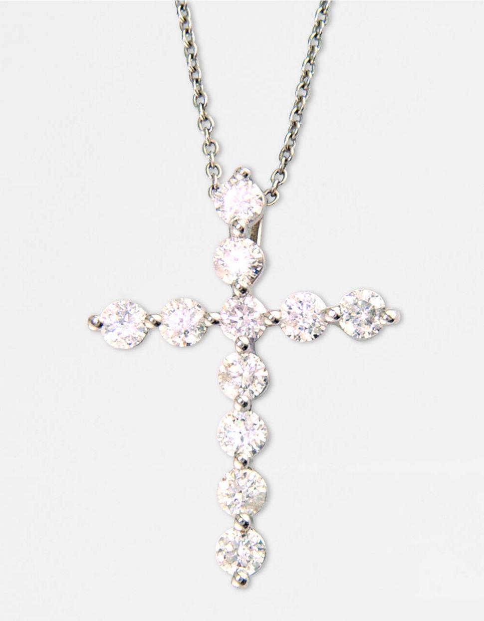 565d8a3c899ee Effy Classique 14k White Gold Diamond Cross Pendant Necklace in ...