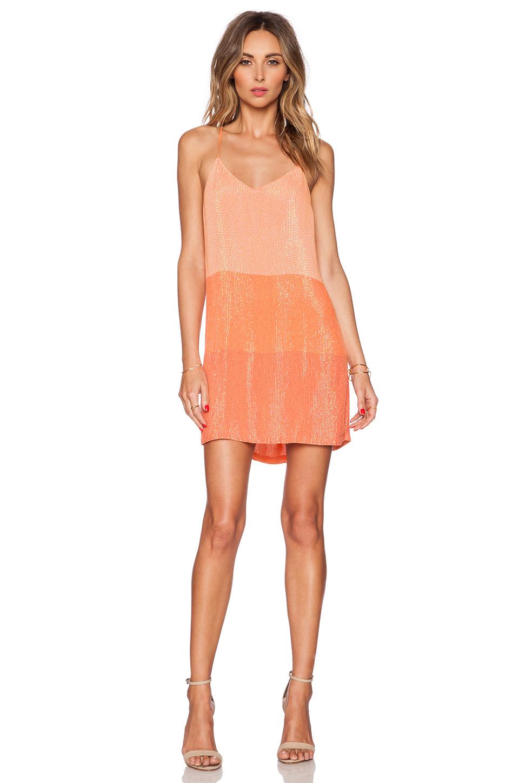 09b77f94 MLV Carmen Sequin Stripe Mini Dress in Orange - Lyst