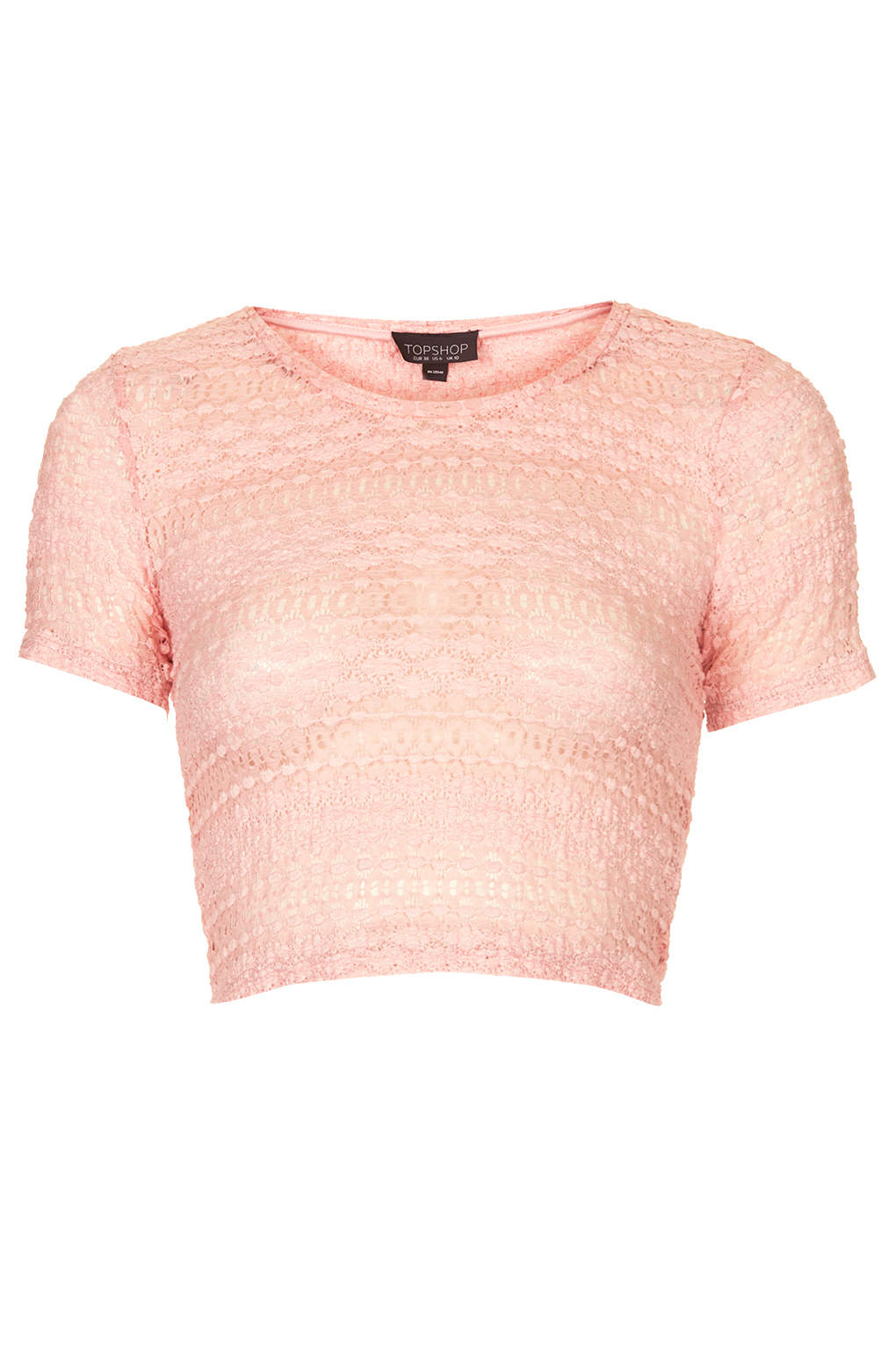8b6dd133c78dda Lyst - TOPSHOP Womens Bobble Lace Crop Pink in Pink