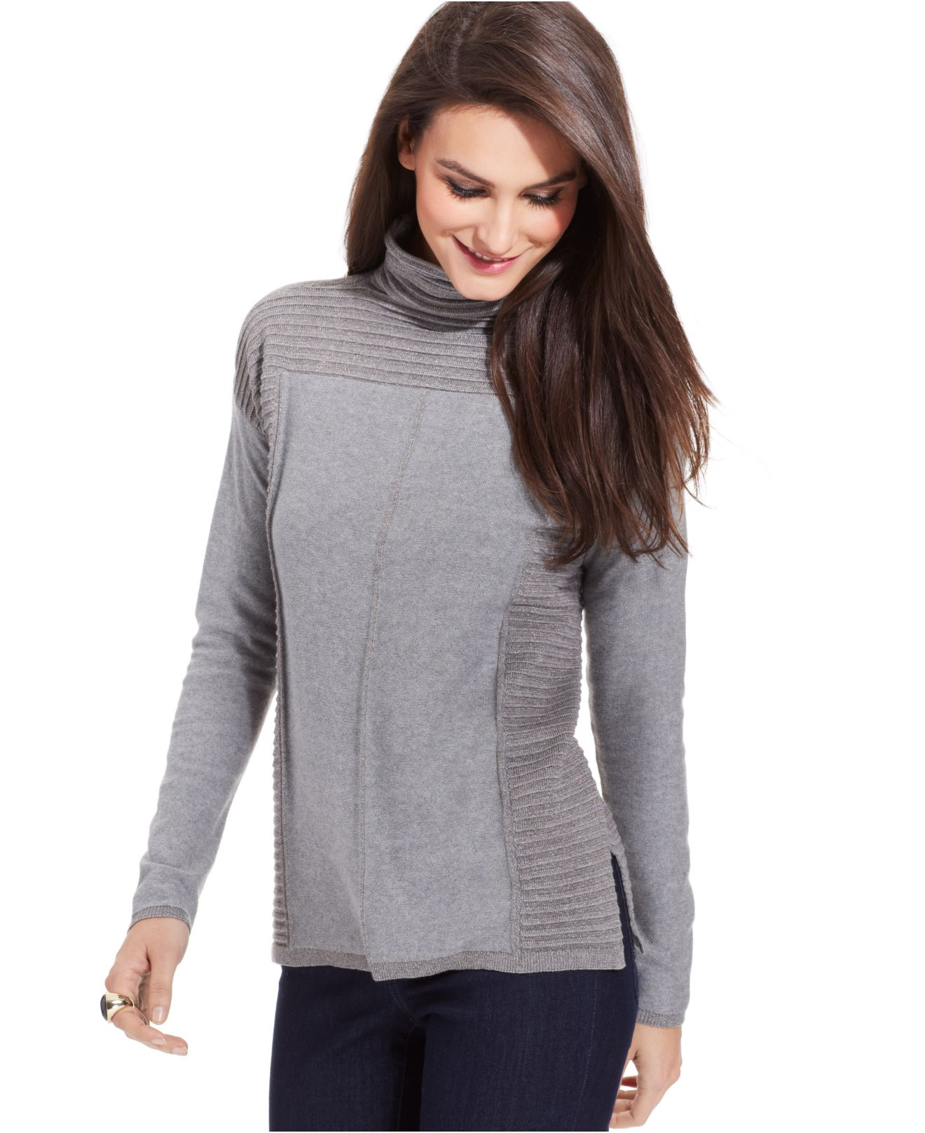 Lyst - Vince Ribbed Shawl Cardigan in Gray