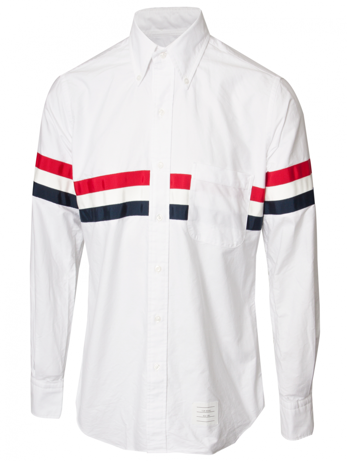 Thom browne classic oxford stripe shirt whitered blue in for White oxford shirt mens