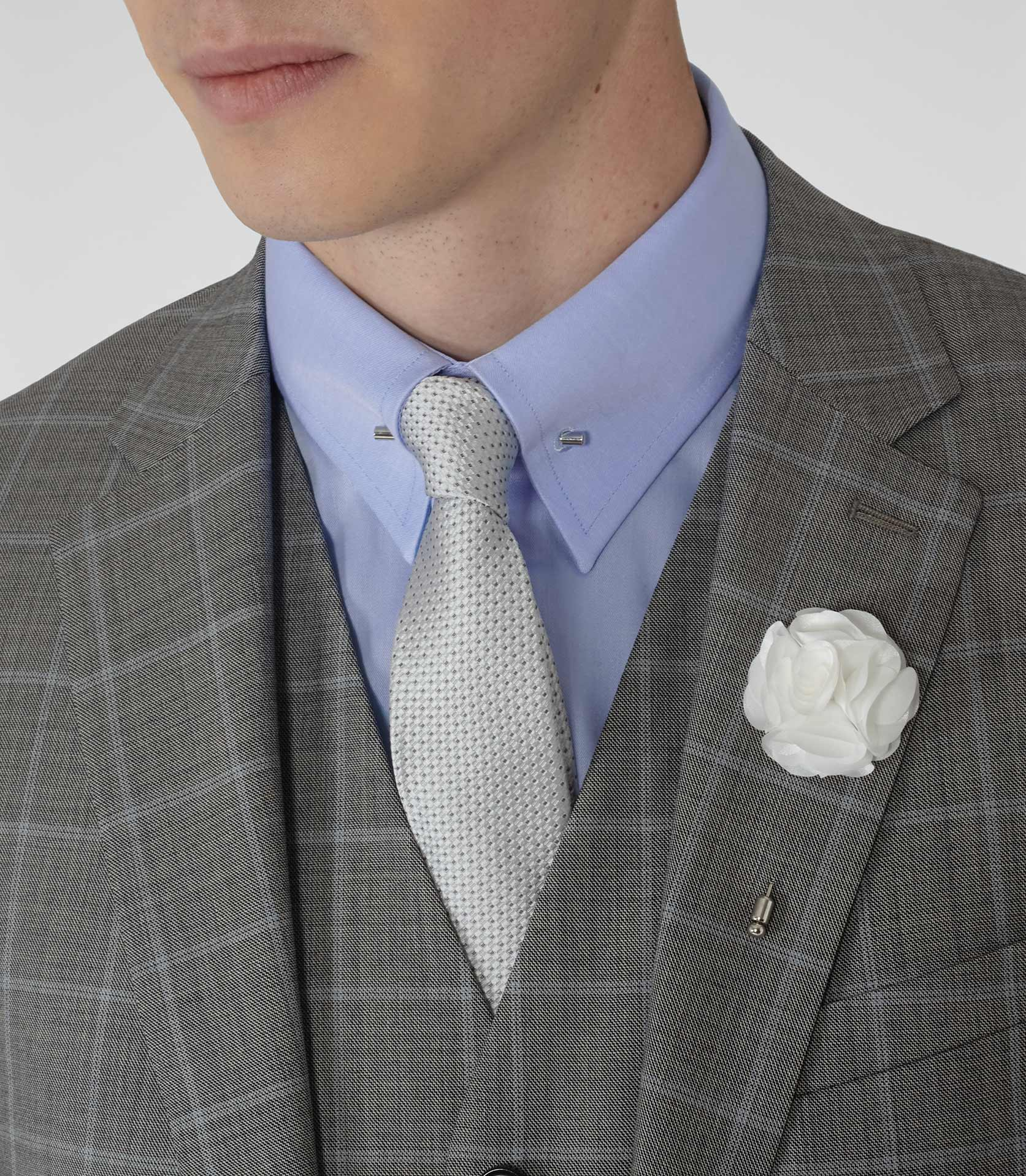 Reiss piani flower dress pin in white for men lyst for White shirt with collar pin
