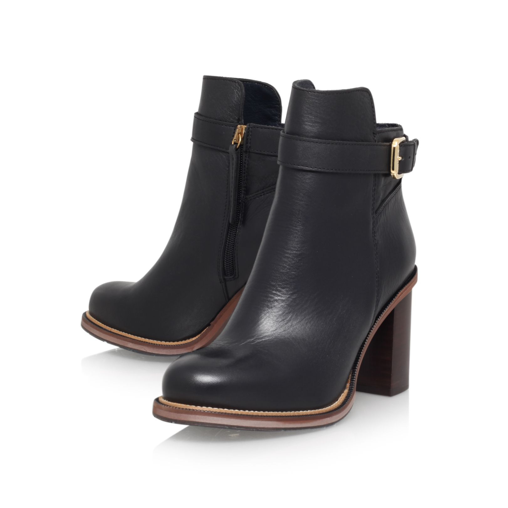 lyst tommy hilfiger leather high heel ankle boot in black. Black Bedroom Furniture Sets. Home Design Ideas