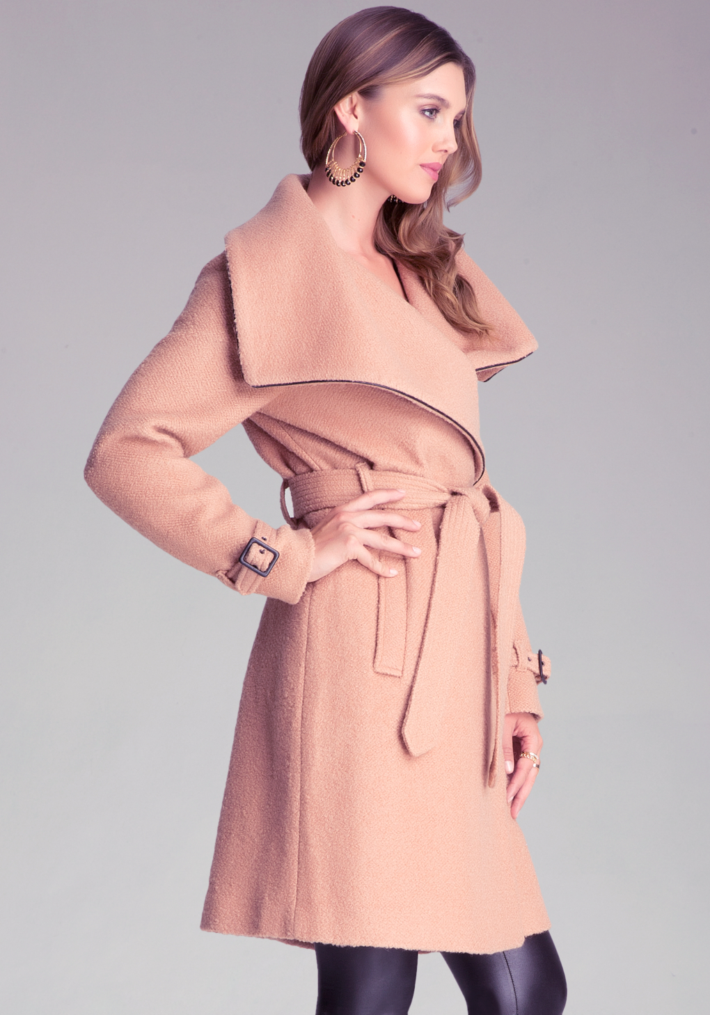Bebe Shawl Collar Belted Coat In Camel Natural Lyst