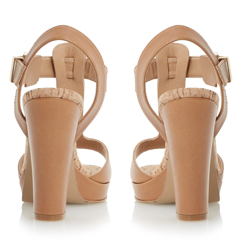 0e658d9f725 Dune Jasmin Leather T-bar Block Heel Sandals in Brown - Lyst