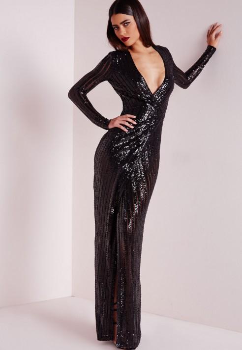 Lyst - Missguided Premium Sequin Stripe Wrap Maxi Dress Black in Black