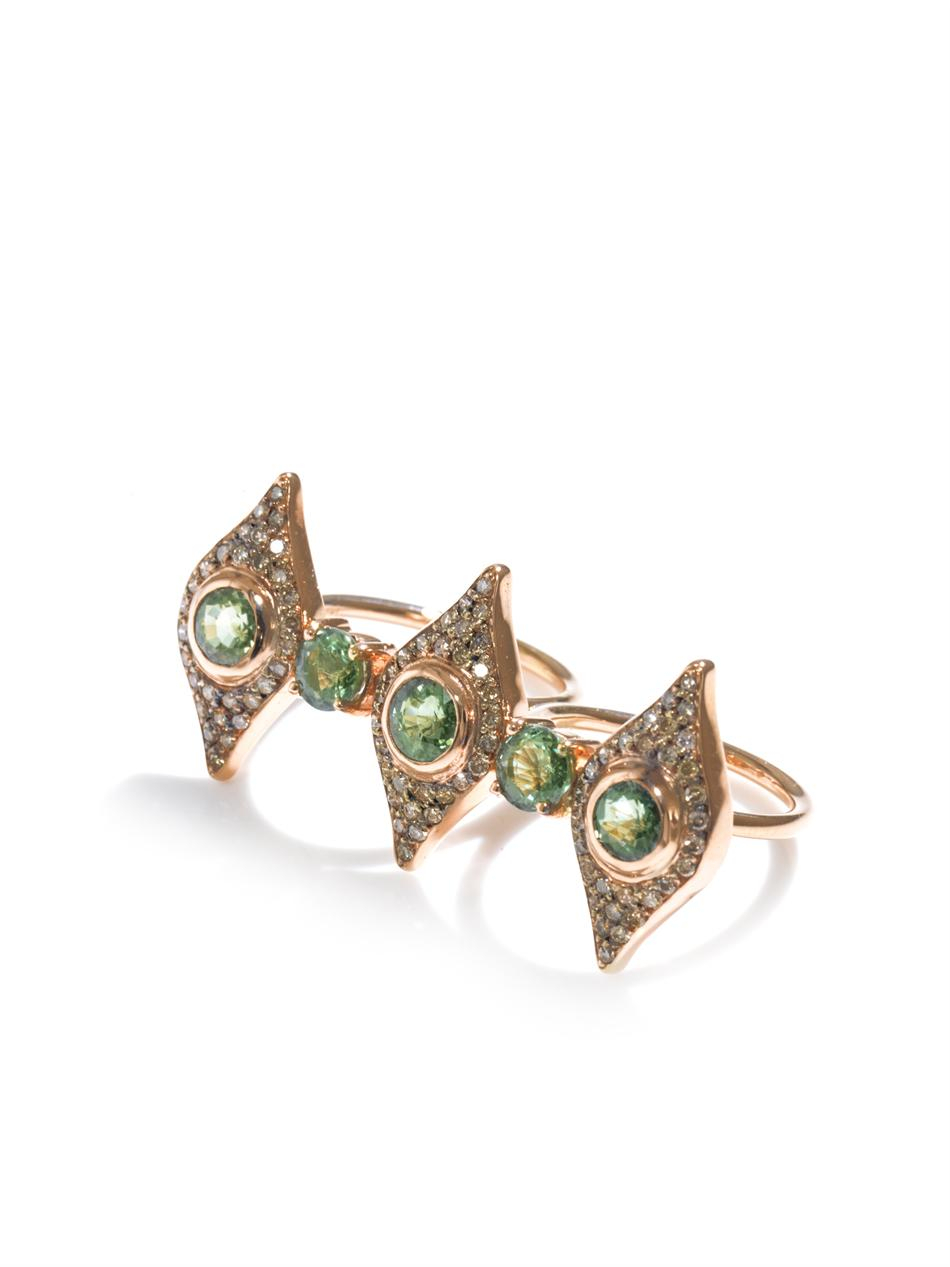 Ileana Makri Diamond, Tsavorite & Pink Gold Double Ring in Metallic (Green)