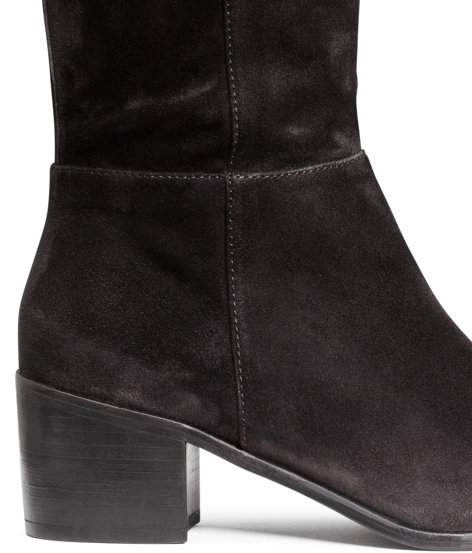 H&M Thigh-high Suede Boots in Black