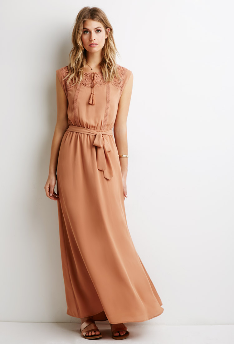 962cd067ad1 Forever 21 Brown Contemporary Crochet-paneled Maxi Dress