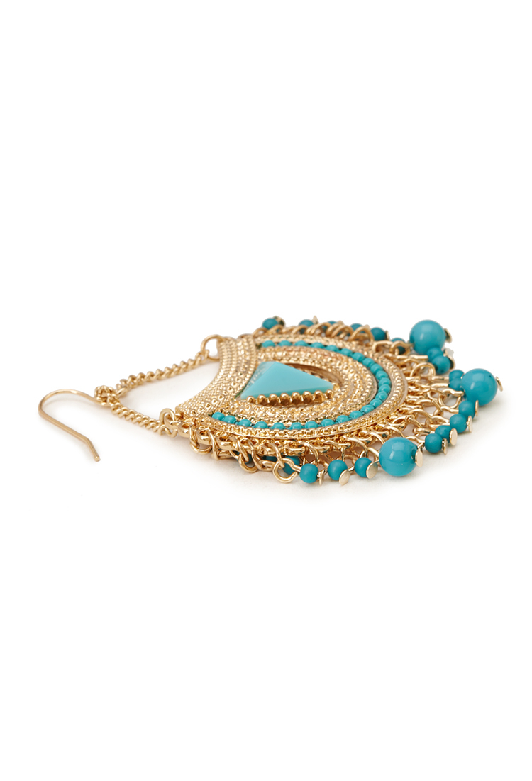 Lyst forever 21 fringed crescent drop earrings in blue for Forever 21 jewelry earrings