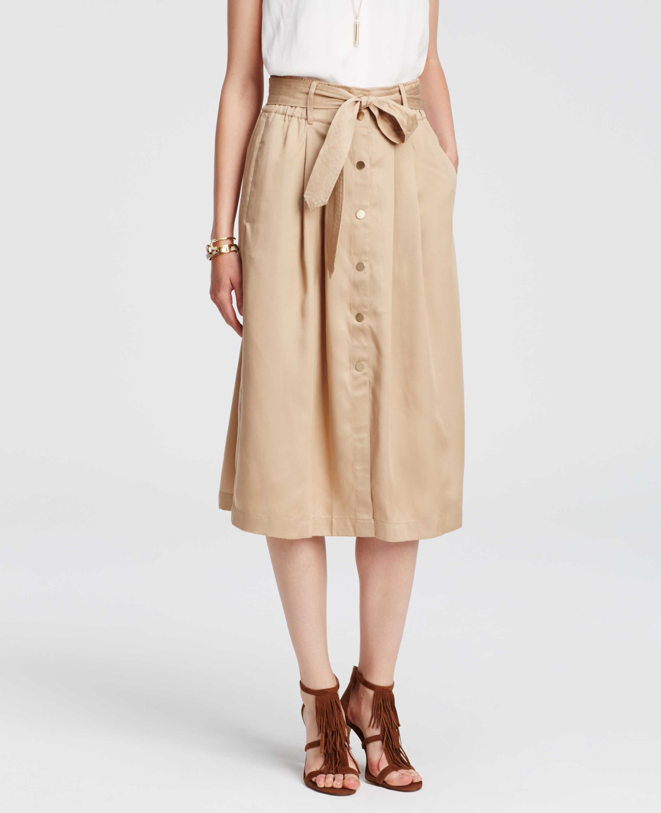 Ann taylor Petite Belted Twill Midi Skirt in Natural