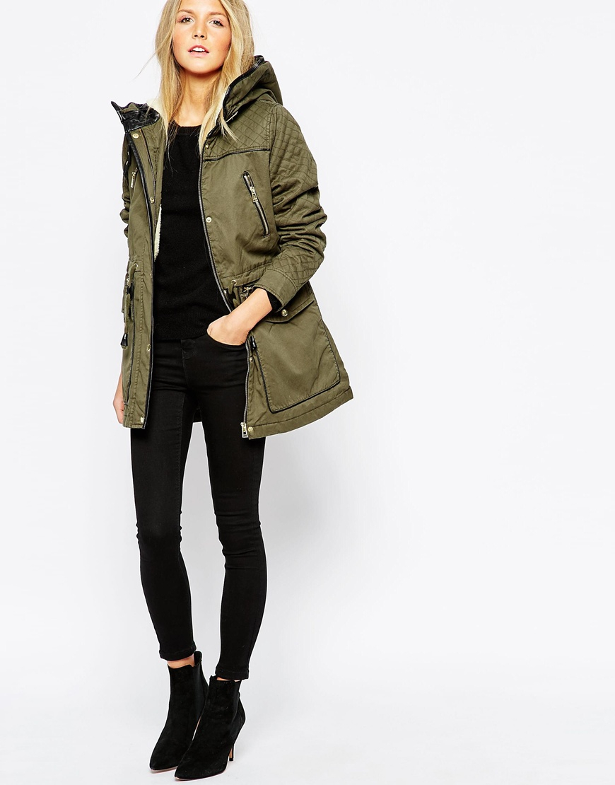 vero moda parka jacket with quilted sleeves in green lyst. Black Bedroom Furniture Sets. Home Design Ideas