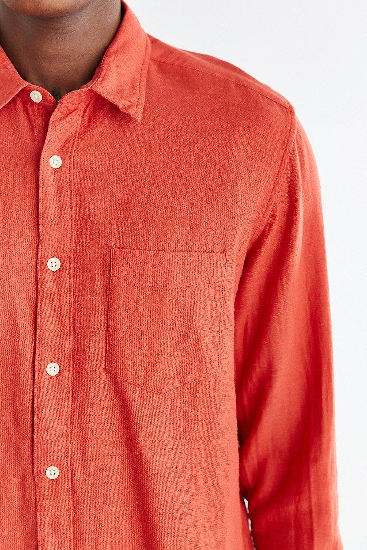 Koto Long-sleeve Slub Desert Button-down Shirt in Pink for Men   Lyst