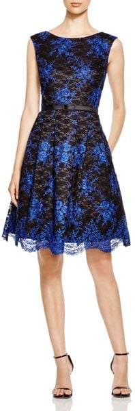 Eliza J Sleeveless Lace Fit And Flare Dress In Black Lyst
