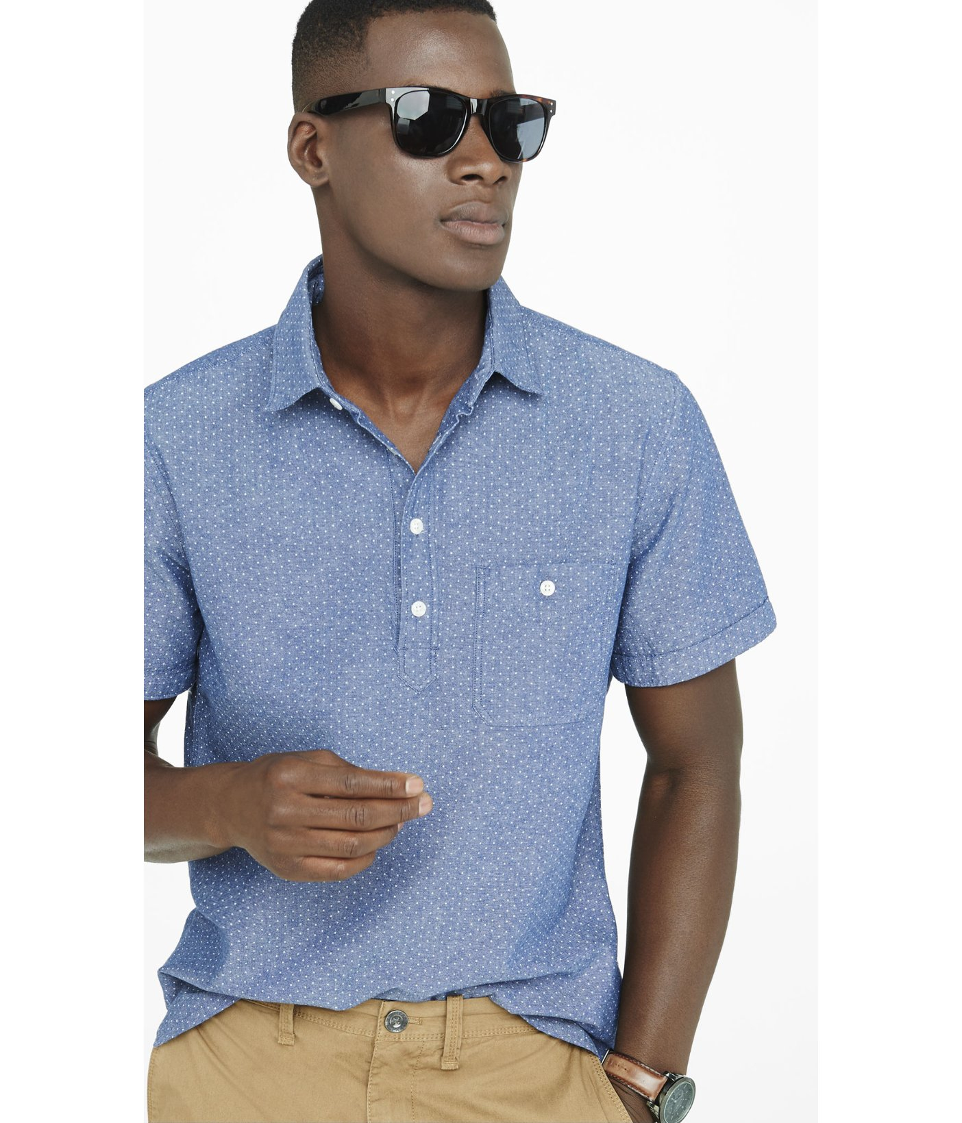 Lyst Express Chambray Dot Print Popover Shirt In Blue