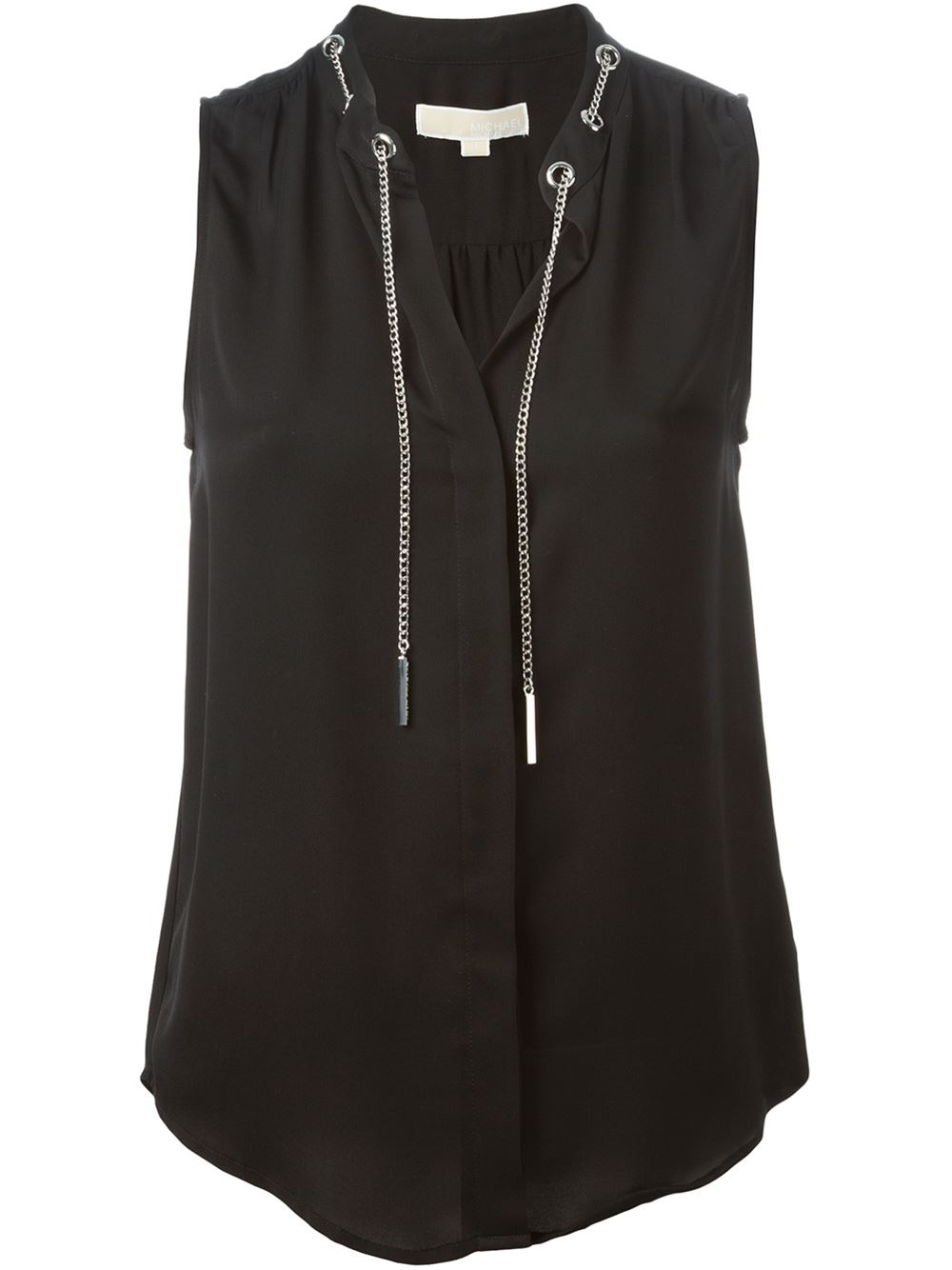 michael michael kors chain and eyelet detail blouse in black lyst. Black Bedroom Furniture Sets. Home Design Ideas