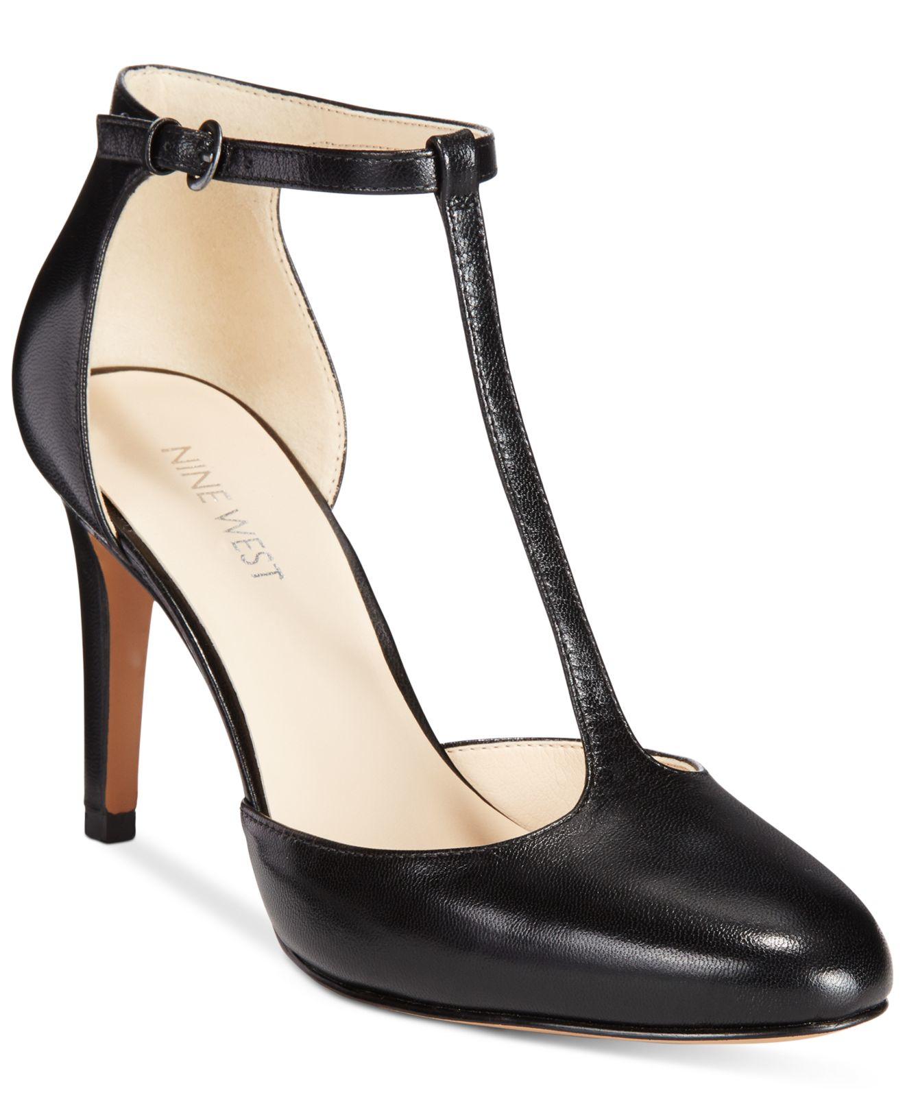 size 40 new arrivals special section Nine West Leather Halinan T-strap Dress Pumps in Black Leather ...