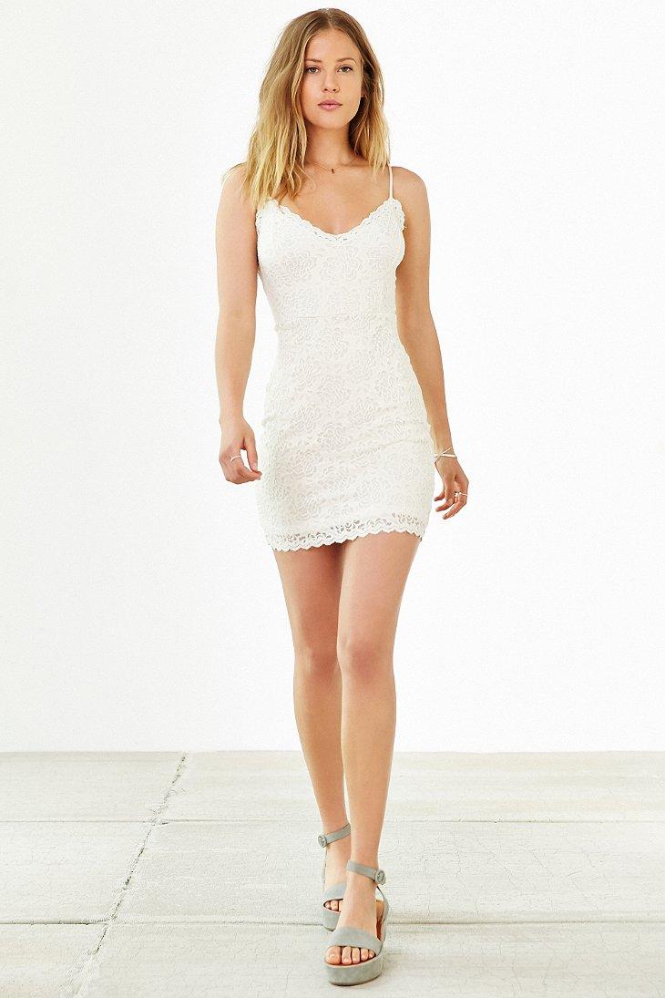 Lyst Kimchi Blue Spaghetti Strap Bodycon Lace Dress In White