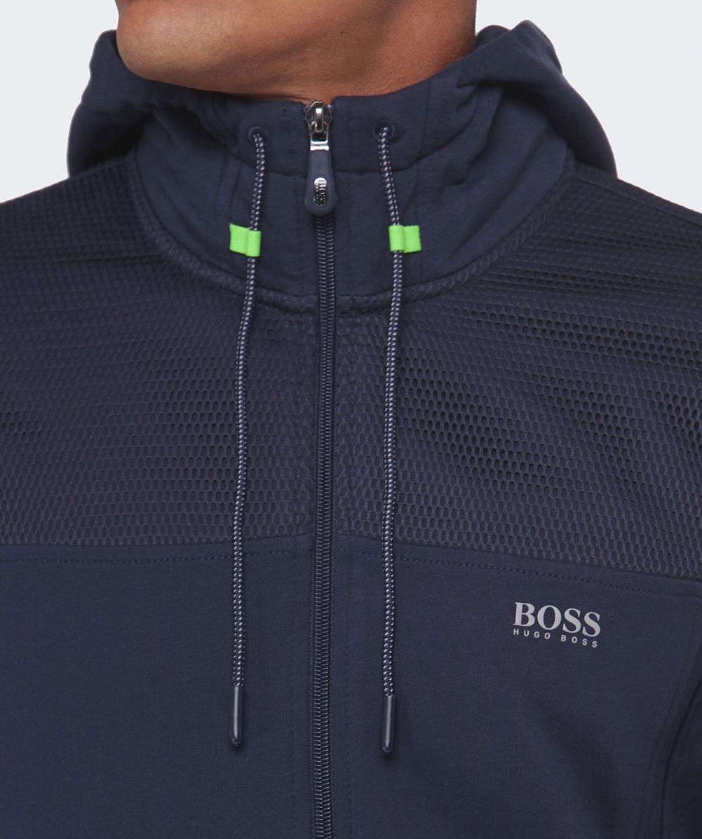 2d5a033f5ef BOSS Green Zip-through Saggy 1 Hoodie in Blue for Men - Lyst