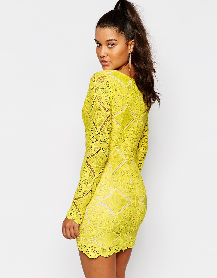Love Triangle V Neck Mini Dress In Lace In Yellow Lyst
