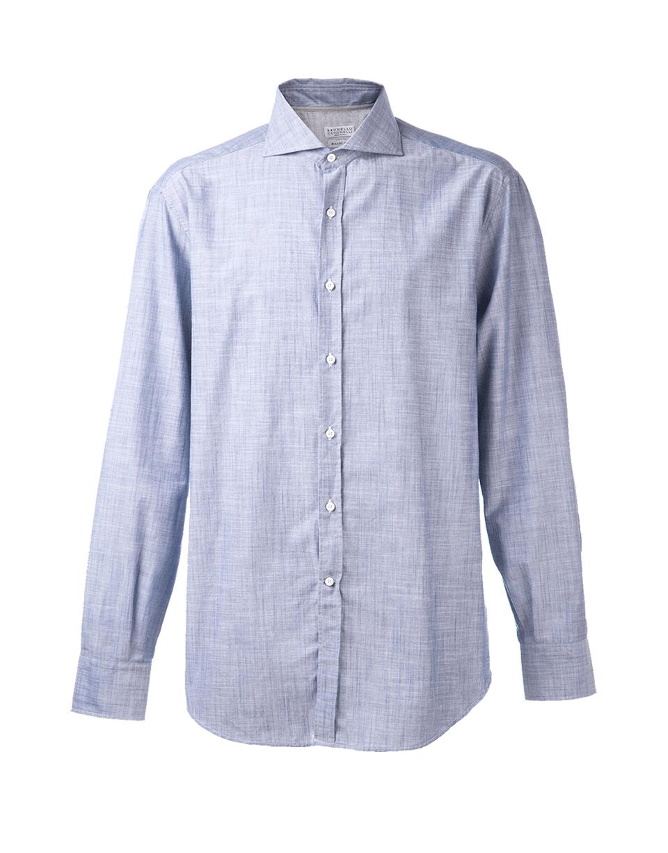 Brunello cucinelli solid spread collar shirt in blue for for What is a spread collar shirt