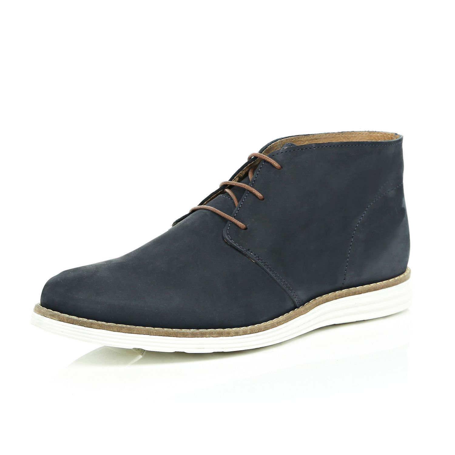 river island navy nubuck leather chukka boots in blue for