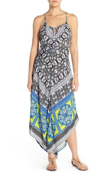 Green dragon Cover-up Maxi Dress in Blue | Lyst