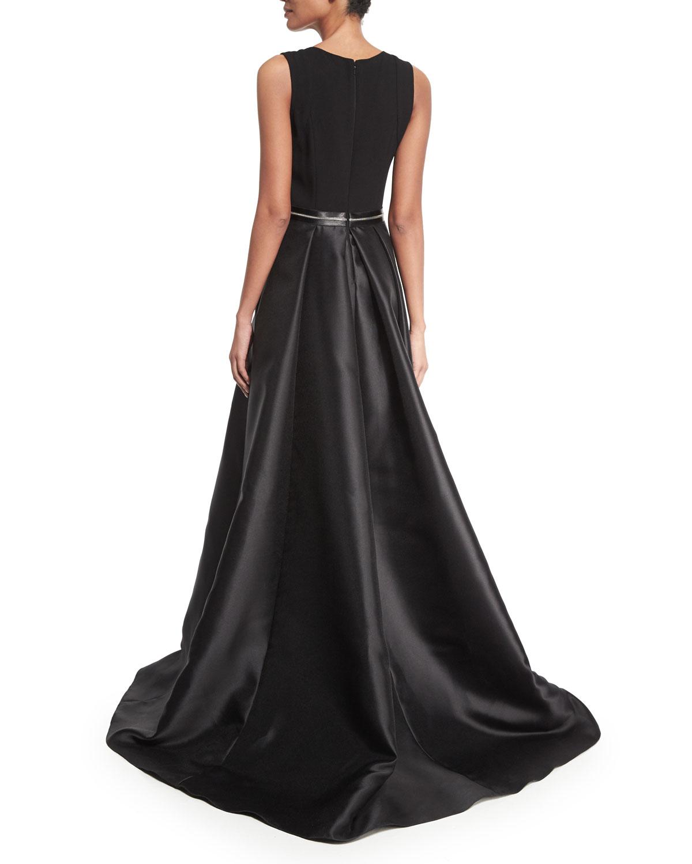 Lyst - Carmen Marc Valvo Sleeveless Beaded Combo Gown in Black