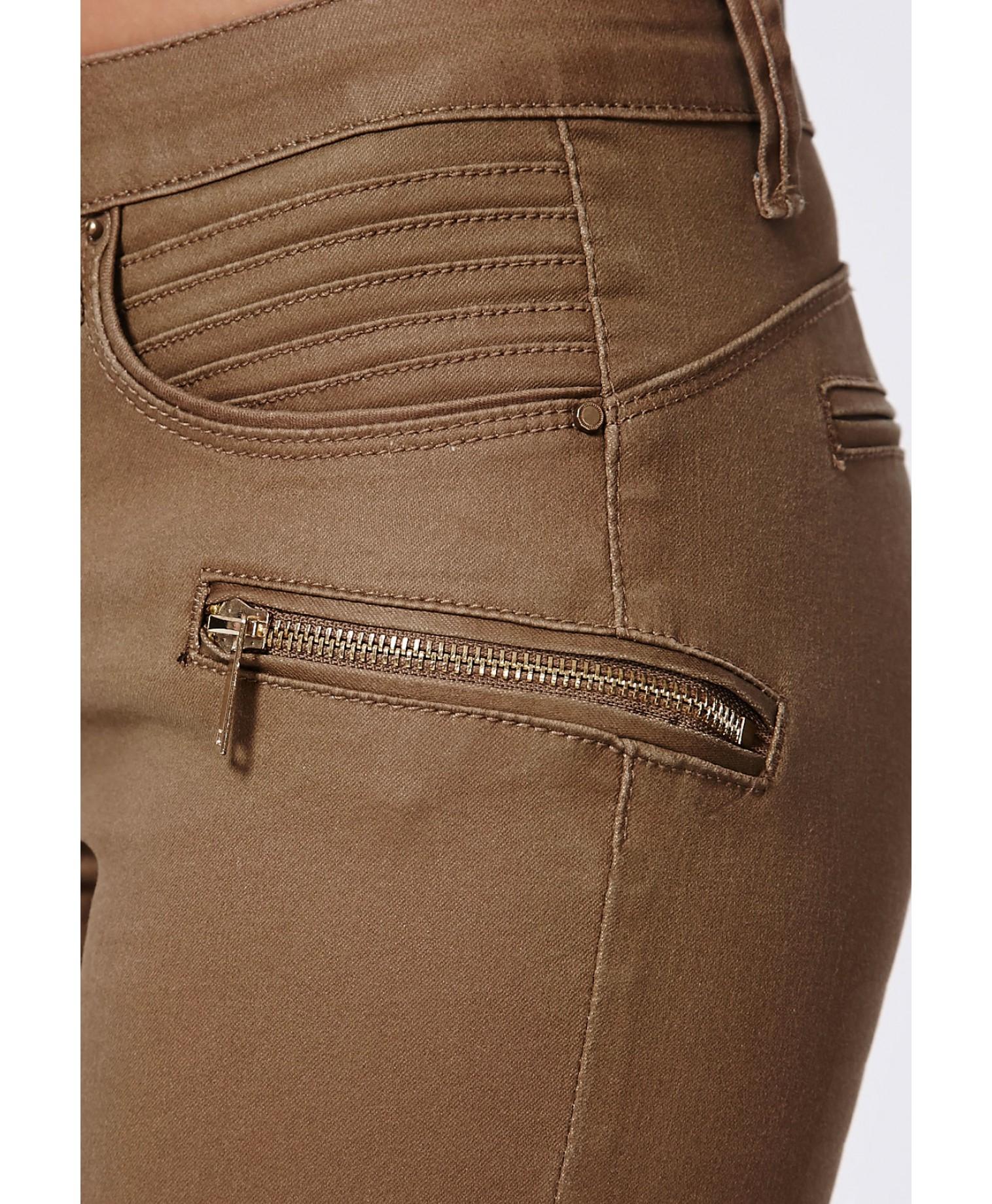Missguided Ayda Low Rise Zip Detail Skinny Jeans Tan in Brown