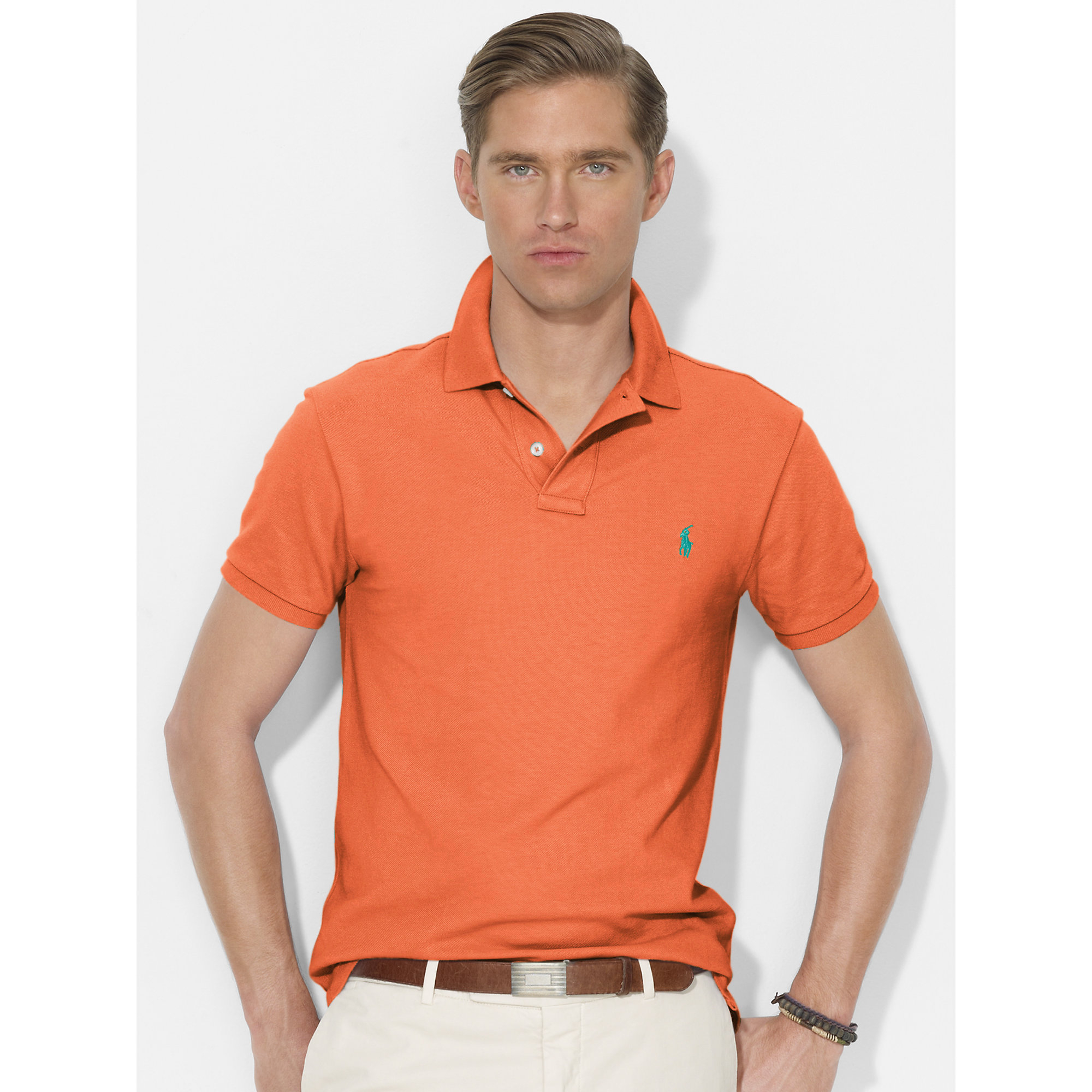311ec35f ... authentic lyst polo ralph lauren slim fit mesh polo in orange for men  692d1 73952