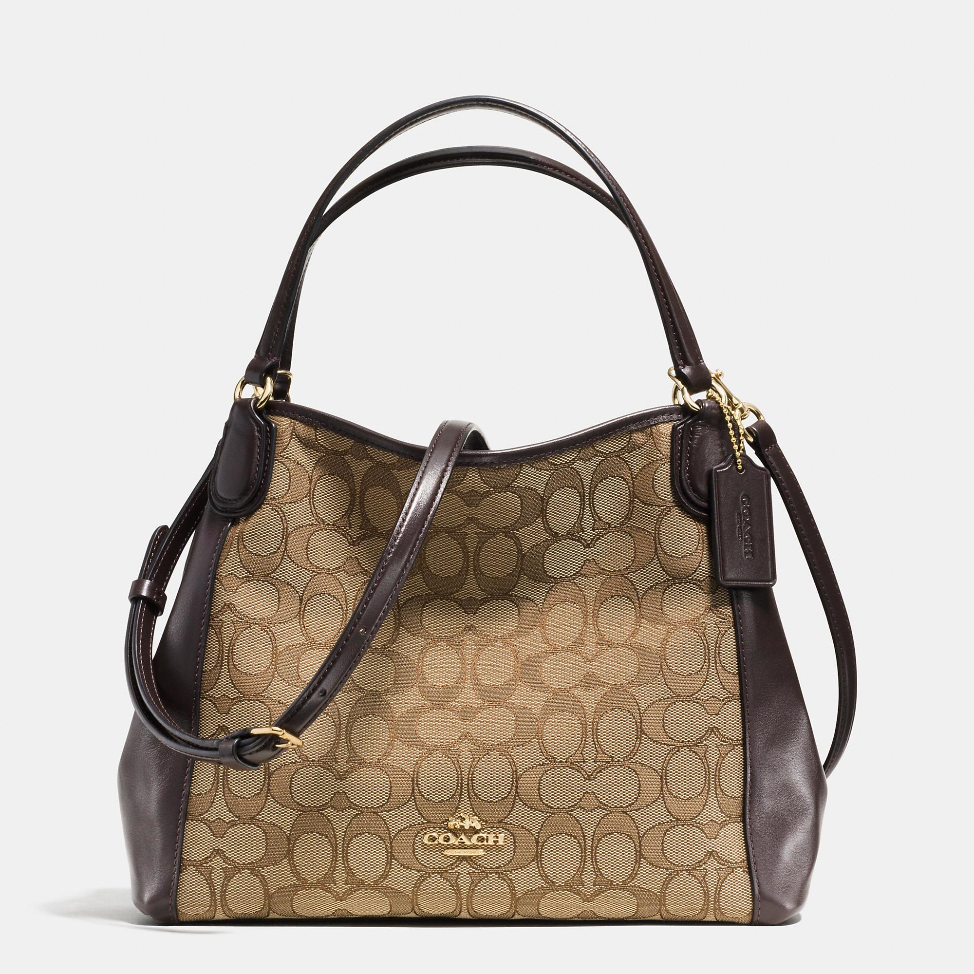 Lyst - COACH Edie Shoulder Bag 28 In Signature Jacquard in Brown 57eea81612840