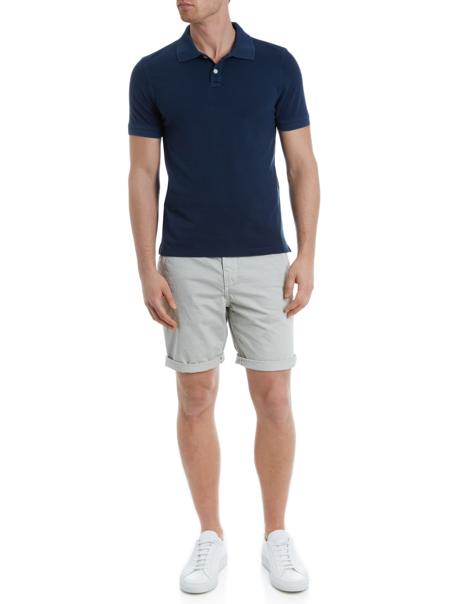 Jaeger Garment Dyed Pique Polo Shirt in Navy (Blue) for Men