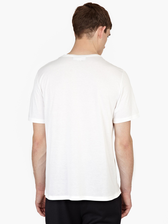 Ami White Silk Blend T Shirt In White For Men Lyst