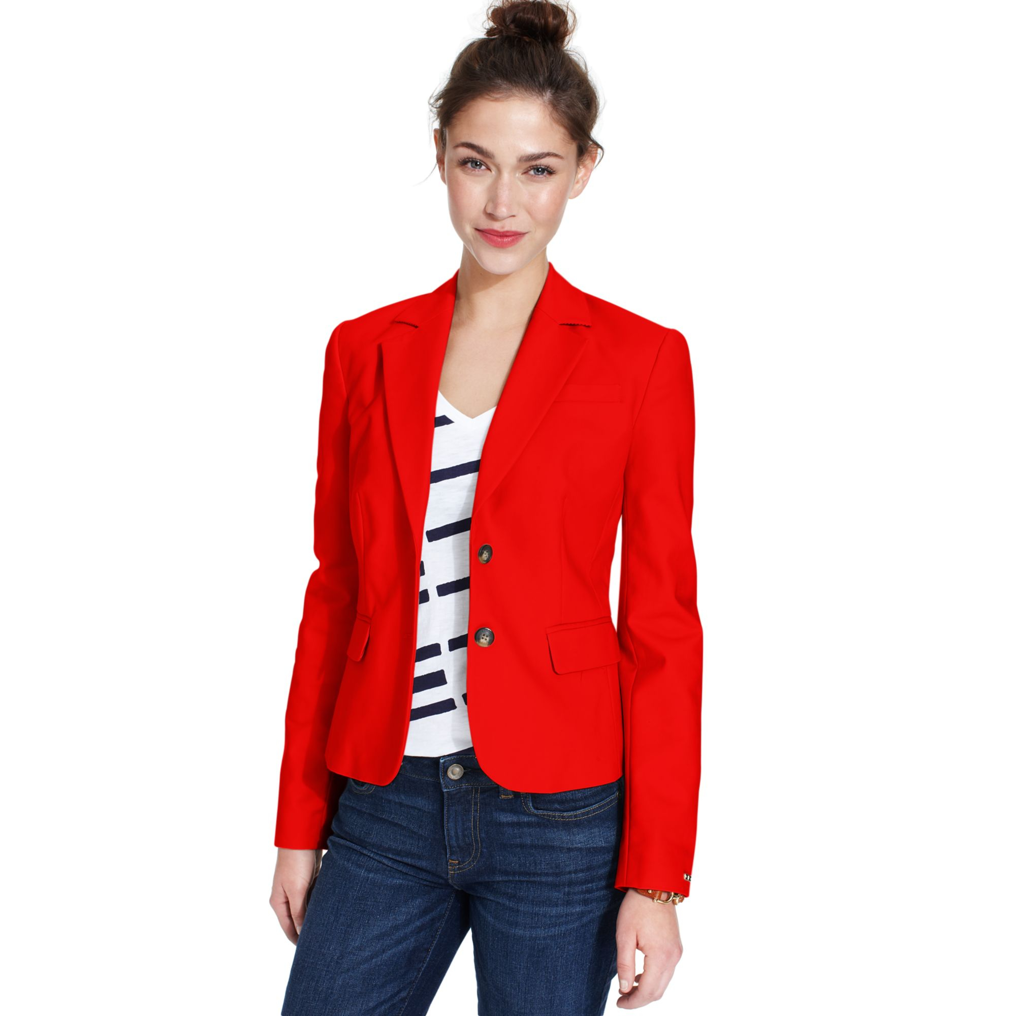 tommy hilfiger long sleeve double button blazer in red. Black Bedroom Furniture Sets. Home Design Ideas