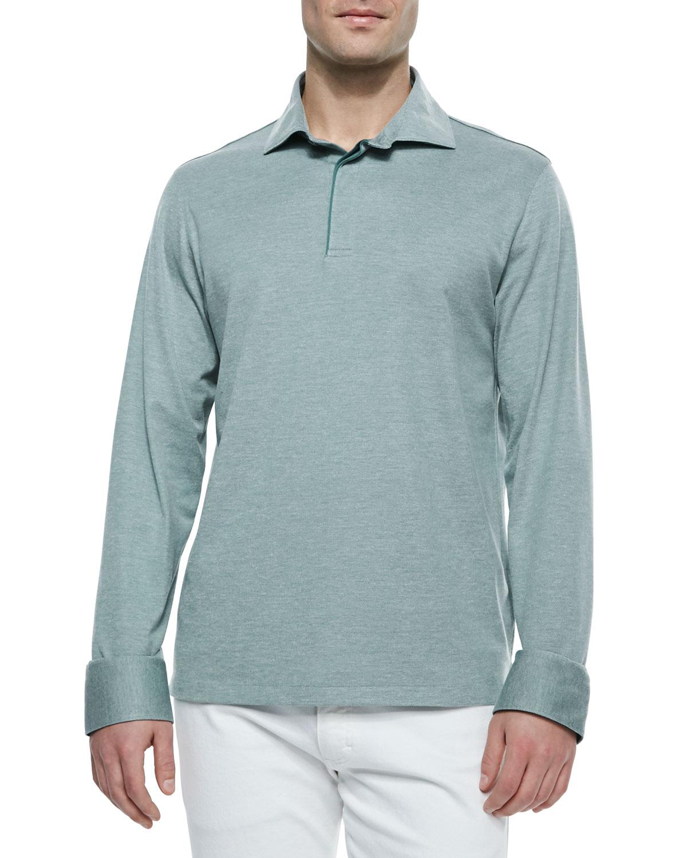 ermenegildo zegna long sleeve pique polo shirt in green for men lyst. Black Bedroom Furniture Sets. Home Design Ideas