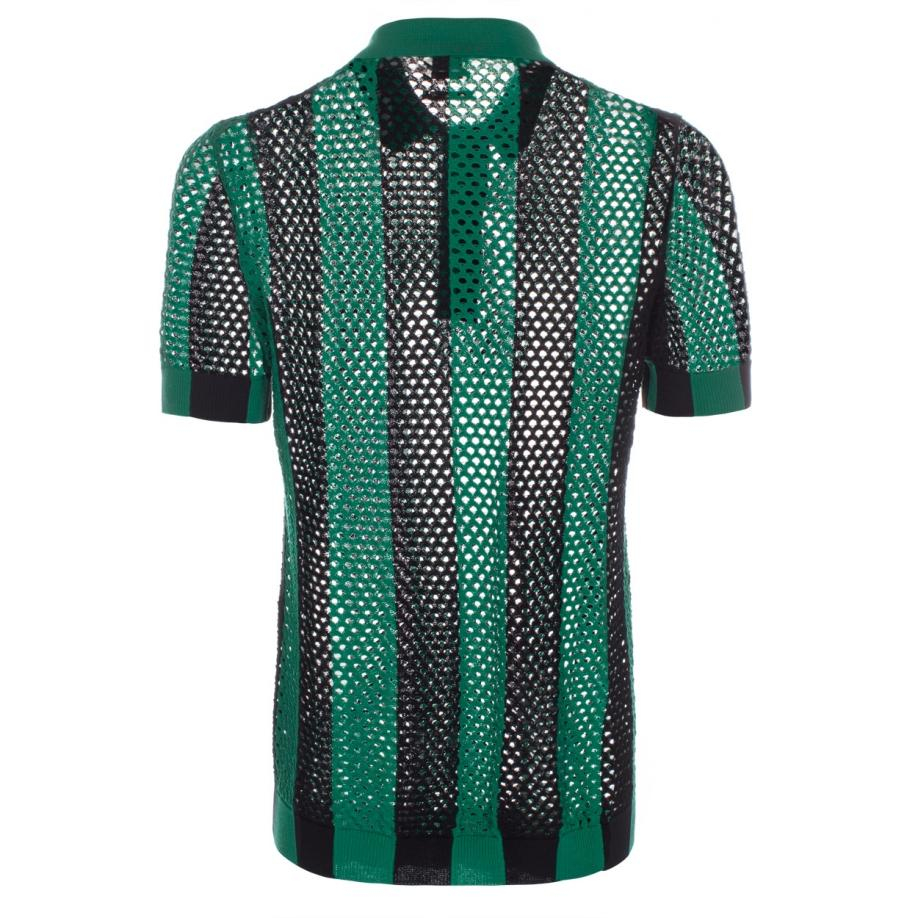 Paul smith men 39 s green and black open knit polo shirt in for Knitted polo shirt mens