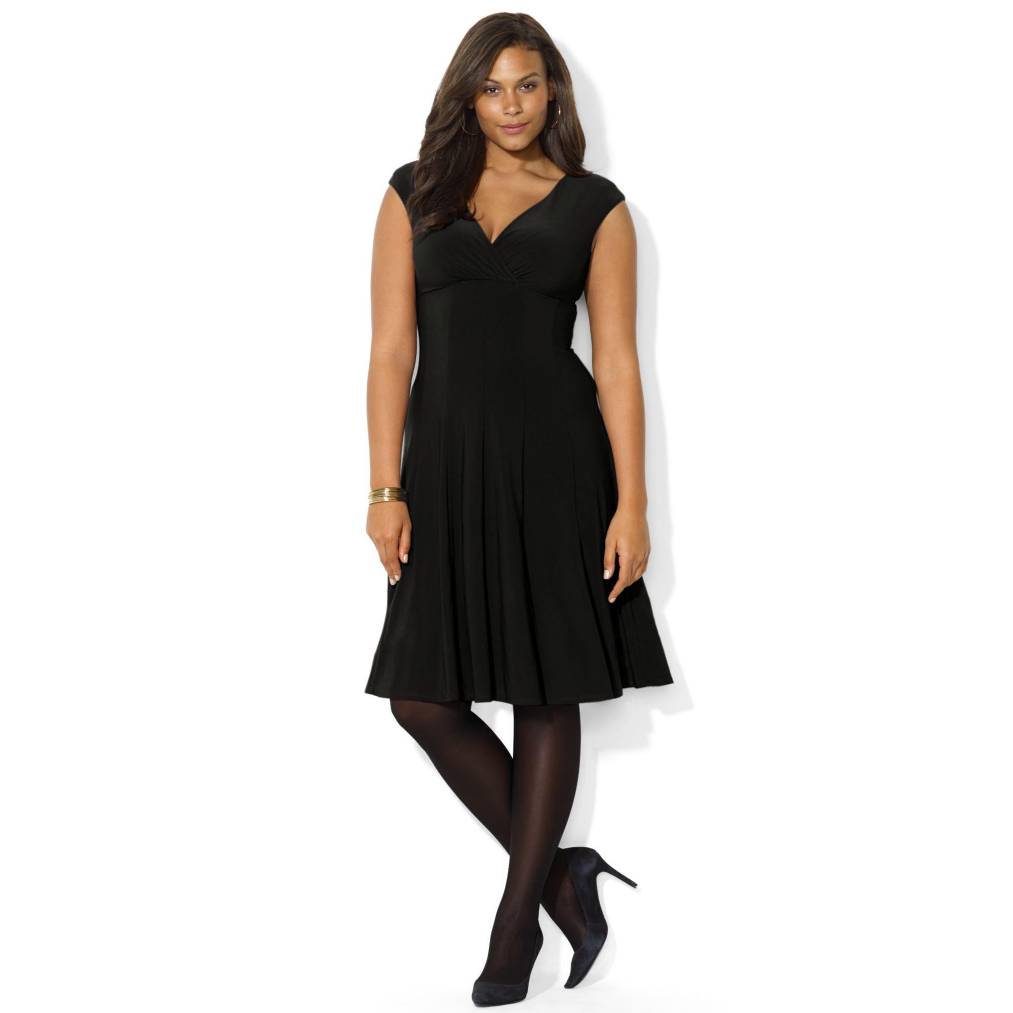 Lauren By Ralph Lauren Plus Size Capsleeve Aline Dress In