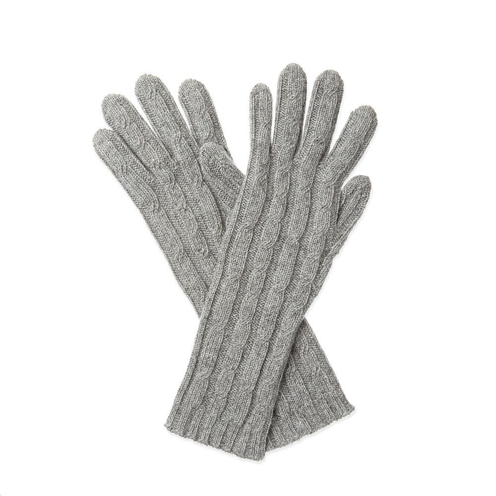 162d49baa Johnstons Cable Knit Cashmere Gloves - For Women in Gray - Lyst