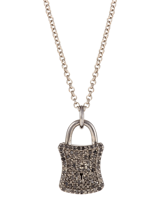 Bavna Silver Amp Diamond Pave Padlock Pendant Necklace In