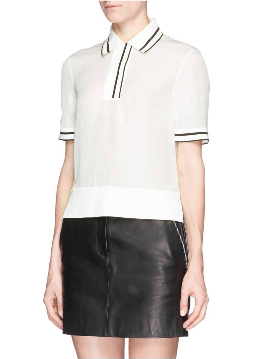 Lyst rag bone 39 dana 39 stripe trim silk polo t shirt in for Silk white t shirt